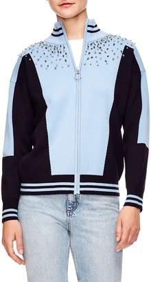 Sandro Embellished Sweater Jacket