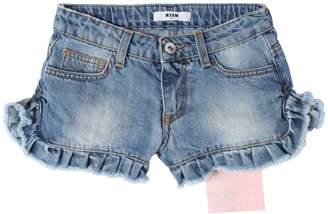 MSGM Stretch Cotton Denim Shorts W/ Logo Tag