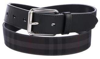 Burberry Horseferry Check Leather-Trimmed Belt
