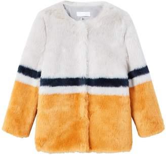 MANGO Girls Faux Fur Retro Coat