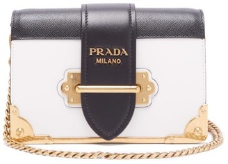 1fa09779abbd Prada Cahier Leather Cross Body Bag - Womens - Black White