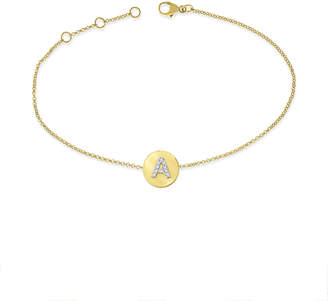 KC Designs 14k Yellow Gold Diamond Disc Initial Bracelet