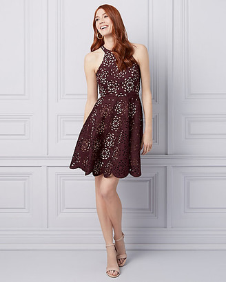 Le Château Laser Cut Knit Halter Dress
