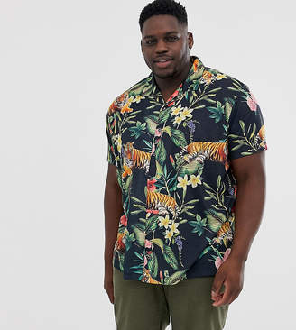 Burton Menswear Big & Tall floral tiger print shirt