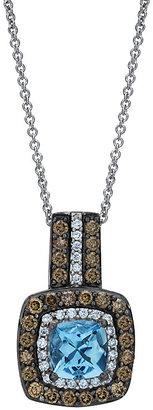 Le Vian 14ct Vanilla Gold diamond & Aquamarine pendant