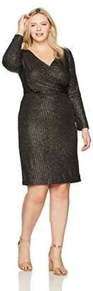 Sangria Women's Plus Size Metallic Wrap Dress