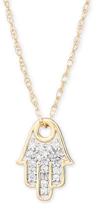 "Elsie May Diamond Accent Hamsa Hand Pendant Necklace in 14k Gold, 15"" + 1"" extender"