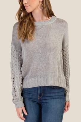 francesca's Waverly Pointelle Sweater - Gray