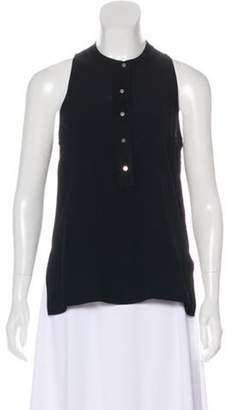 A.L.C. Suede-Trimmed Sleeveless Blouse w/ Tags Black Suede-Trimmed Sleeveless Blouse w/ Tags