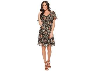 Stetson 1398 Dark Floral Printed Chiffon Dress Women's Dress