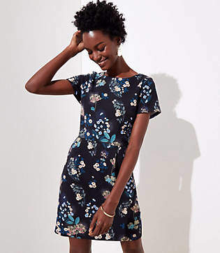 LOFT Floral Scoop Back Pocket Dress