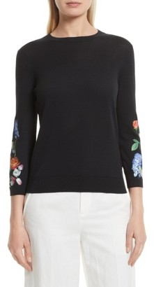 Women's Ted Baker London Deyzie Kensington Floral Sweater $195 thestylecure.com