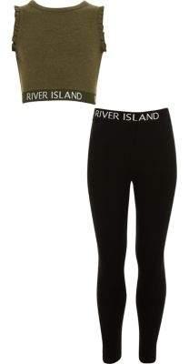 River Island Girls khaki RI branded ruffle crop top outfit
