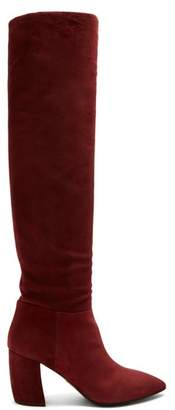 Prada Point Toe Suede Knee High Boots - Womens - Burgundy