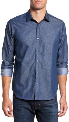 Jeff Edison Slim Fit Paisley Print Sport Shirt