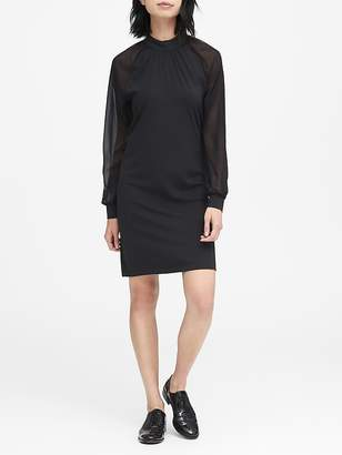 Banana Republic JAPAN ONLINE EXCLUSIVE Soft Ponte Ruched-Neck Shift Dress