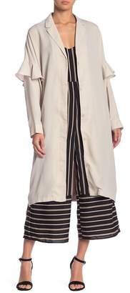 Lucca Couture Ruffle Sleeve Duster Coat