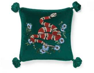 Gucci Velvet cushion with snake embroidery