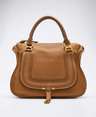 Chloé Marcie Large Leather Satchel Bag, Tan