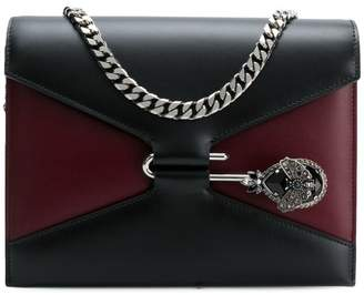 Alexander McQueen Black and burgundy Leather Satchel Bag