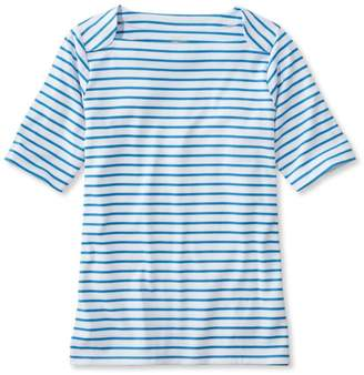 L.L. Bean L.L.Bean Pima Cotton Tee, Elbow Sleeve Envelope-Neck Stripe