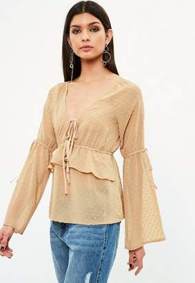 Missguided Cream Dobby Spot Tie Front Plunge Blouse