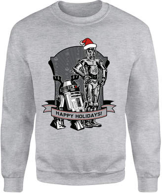 6b3b15782ba6 Star Wars Happy Holidays Droids Grey Christmas Sweatshirt