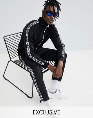 Pull&Bear Exclusive Tracksuit Bottoms In Black With Logo Side Stripe