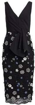 Lela Rose Resort Tie-Front Lace Sheath Dress