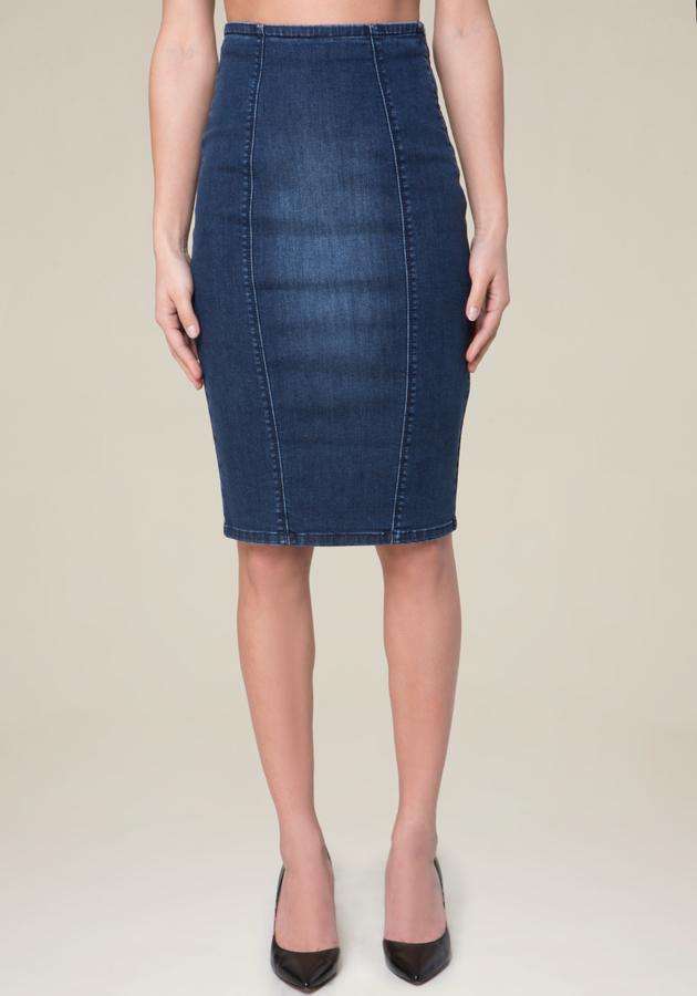 Denim Lace Up Pencil Skirt