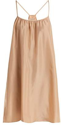 Loup Charmant - Classic Scoop Neck Silk Satin Slip Dress - Womens - Nude
