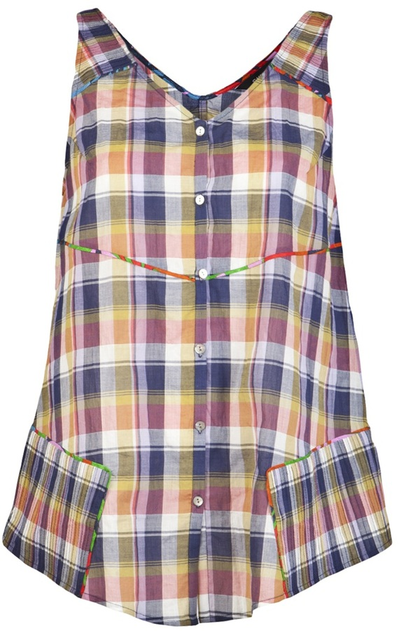 Suno Madras sleeveless shirt