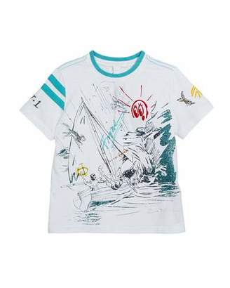 Burberry Short-Sleeve Sailing Print T-Shirt, Size 4-14