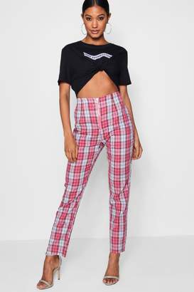boohoo Woven Skinny Check Trouser