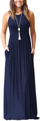 Zilcremo Women Casual Sleeveless Tank Solid Fit And Flare Maxi Party Dress Darkblue XL