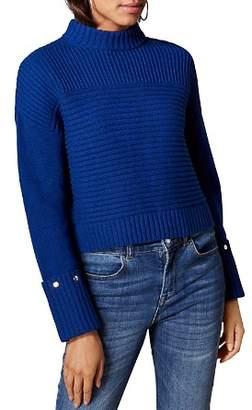 Karen Millen Studded-Cuff Cropped Sweater