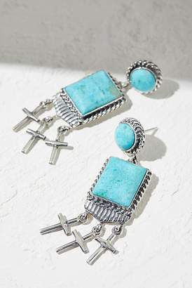 Navajo Arts & Crafts Enterprise Kingman Turquoise Cross Earrings