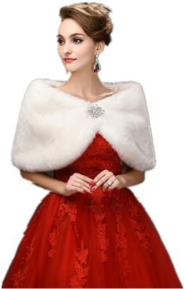 FOLWEP Women's Faux Fur Wrap Cape Stole Shawl Shrug Crystal Wedding/Party/Show