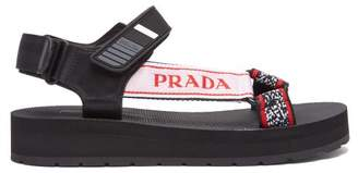 Prada Multi Strap Rubber Sandals - Womens - Black Red