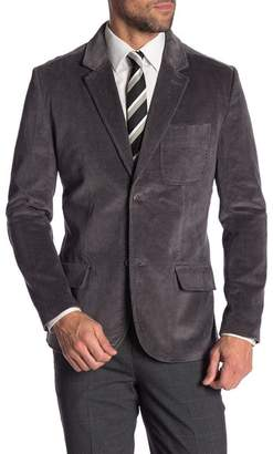 Jachs Grey Two Button Notch Lapel Corduroy Stretch Blazer