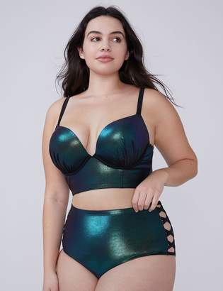 5ffc4783d66ff Lane Bryant Iridescent Shimmer Swim Longline Bikini Top with Built-In Plunge  Bra
