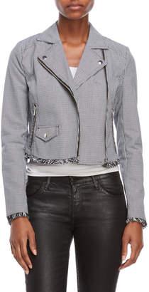 Romeo & Juliet Couture Romeo + Juliet Couture Houndstooth Fringe Moto Jacket