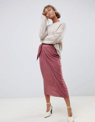 Asos Design DESIGN wrap midi skirt with tie front