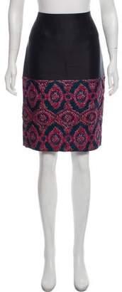 Prabal Gurung Metallic-Accented Knee-Length Skirt