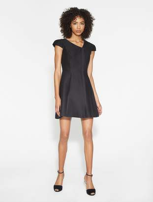Halston Silk Faille Asymmetric Neck Dress