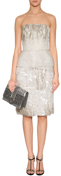 Alberta Ferretti Champagne Sequined Strapless Silk Dress