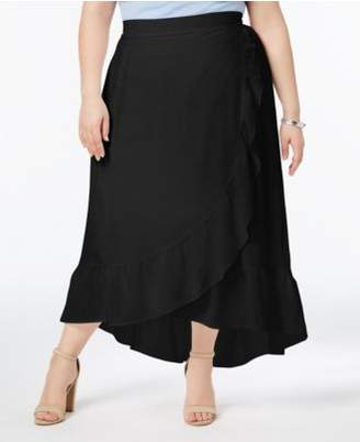 NY Collection Plus & Petite Size Ruffled Wrap Skirt