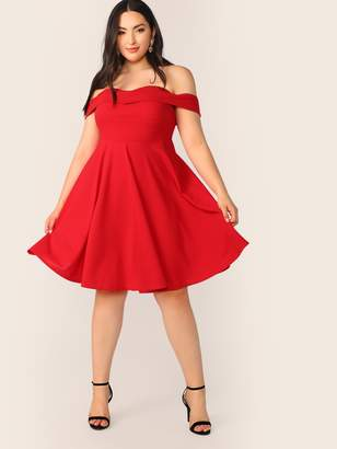 060187068f Shein Plus Foldover Front Off Shoulder Sweetheart Dress
