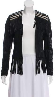 Saylor Faux Leather Fringe Jacket