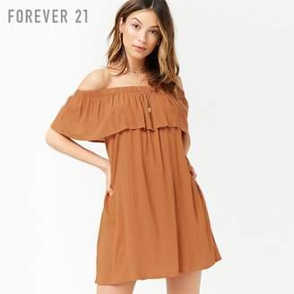 Forever 21 (フォーエバー 21) - Forever 21 フラウンスオフショルダーミニワンピース
